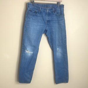 Levis 501 ct boyfriend distressed button fly jeans